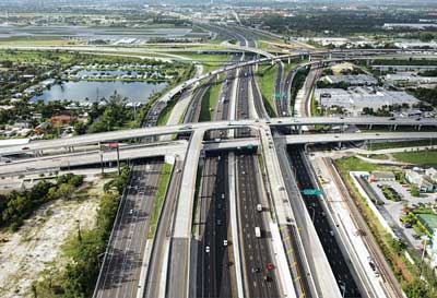 Ranger Construction — South milled and repaved three miles of interstate highway plus entrance/exit ramps for the I-95 interchange at I-595 in Broward County, FL.